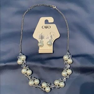 CATO Pearl Necklace and Earring Set